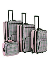 Rockland 4-pc. Pink Plaid Print Luggage Set