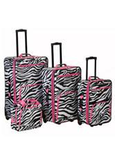 Rockland 4-pc Pink .Zebra Print Luggage Set