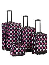 Rockland 4-pc. Pink Dot Print Luggage Set