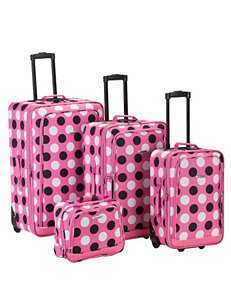 Rockland Pink / White Luggage Sets