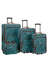 Rockland 4-pc. Blue Leopard Print Luggage Set