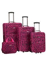 Rockland 4-pc. Magenta Leopard Print Luggage Set