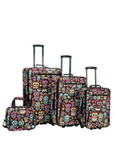 Rockland 4-pc.Owl Print Luggage Set