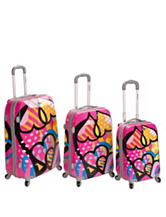 Rockland 3-pc. Heart Print Luggage Set