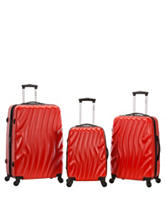Rockland 3-pc. Red Wave Luggage Set