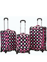 Rockland 3-pc. Pink & White Dot Print Luggage Set