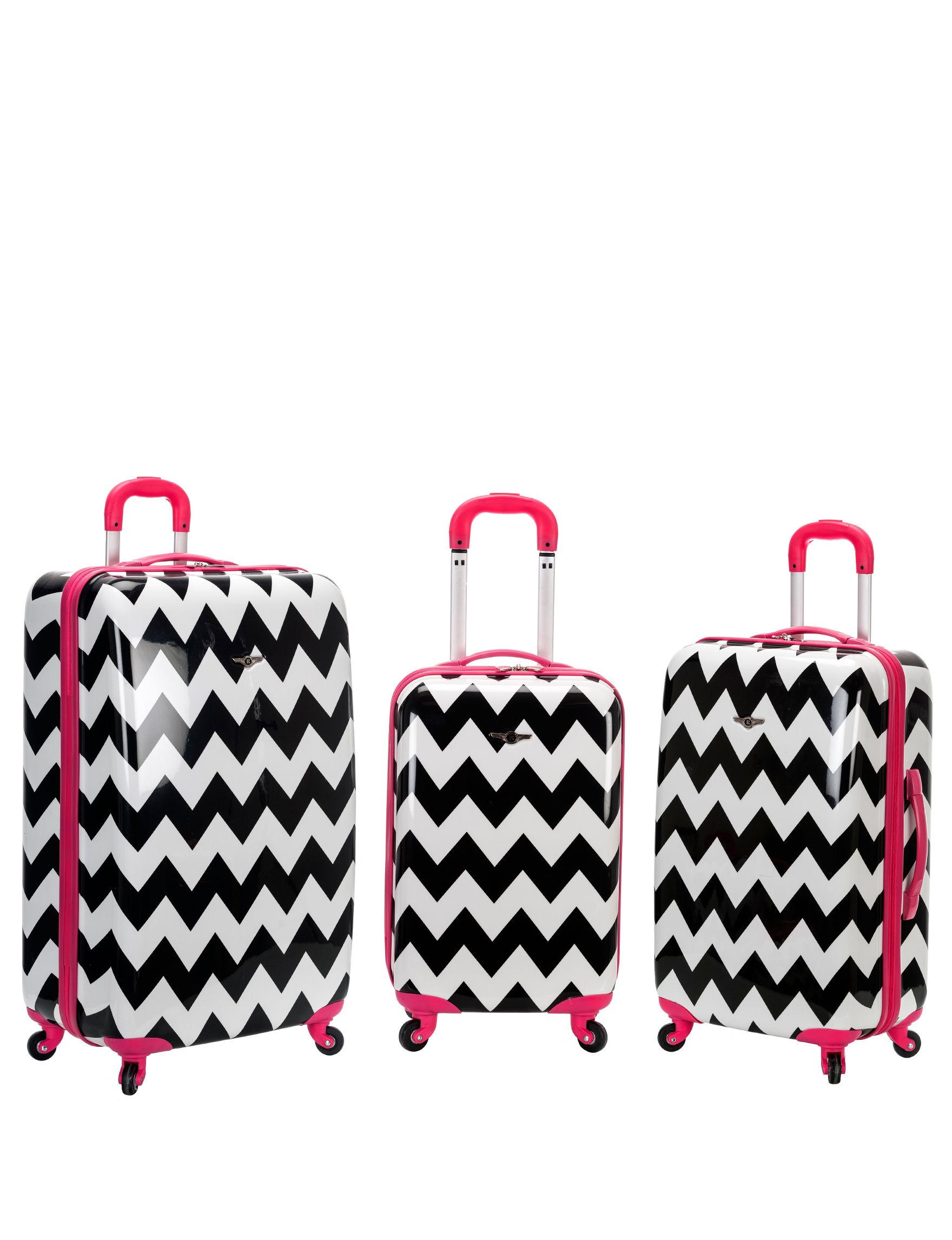 Rockland Pink / Black Luggage Sets