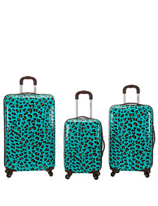 Rockland 3-pc. Blue Leopard Print Hardside Luggage Set