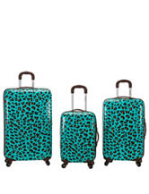 Rockland 3-pc. Blue Leopard Print Hardside Luggage Set