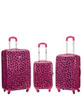Rockland 3-pc. Magenta Leopard Print Hardside  Luggage Set
