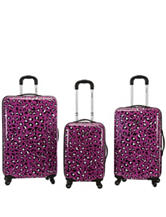 Rockland 3-pc. Purple Leopard Print Hardside Luggage Set
