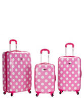 Rockland 3-pc. Pink Dot Print Luggage Set