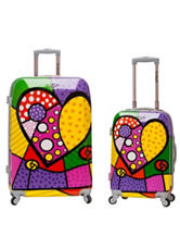 Rockland 2-pc. Multicolor Heart Print Luggage Set