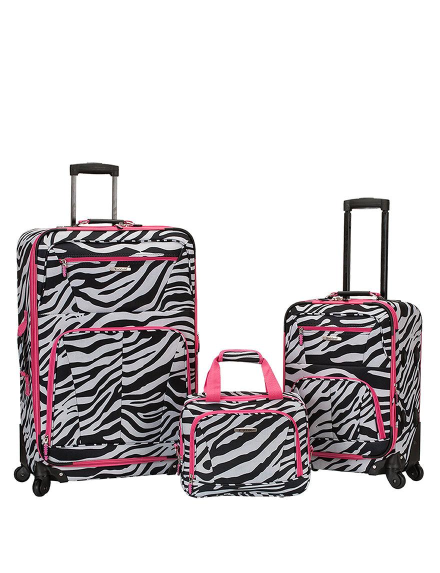 Rockland Zebra / Pink Luggage Sets