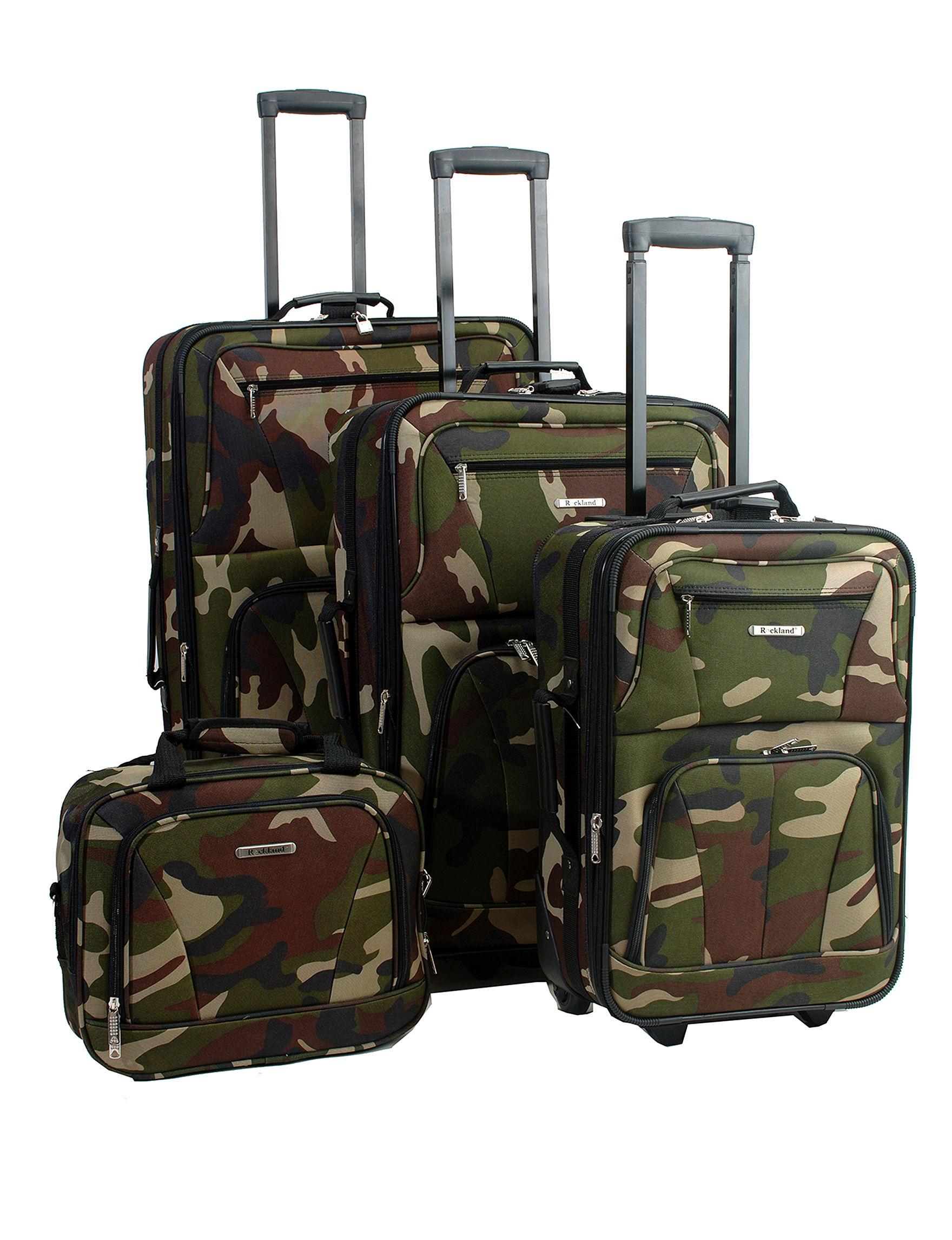 Rockland Green Camo Luggage Sets
