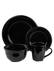 10 Strawberry Street 16-pc. Black Beaded Round Dinner Set