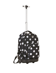 Rockland 19 Inch Dot Print Rolling Backpack