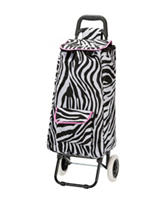 Rockland Zebra Print Rolling Shopping Tote