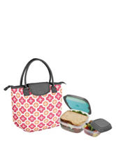 Fit & Fresh Chicago Coral Italian Tile Print Lunch Tote