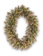 National Tree Company 30-Inch Glittery Bristle Pine Wreath with Warm White LED Lights