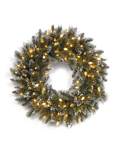 National Tree Company 24-Inch Glittery Bristle Pine Wreath with Warm White LED Lights