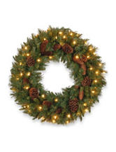 National Tree Company 24-Inch Pine Cone Wreath with Clear Lights