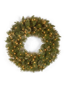National Tree Company 24-Inch Wispy Willow Wreath with Clear Lights