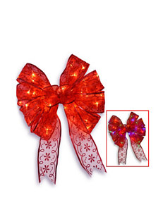 National Tree Company 9 Inch Red Bow Tree Topper with Dual Color LED Lights