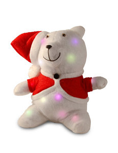 National Tree Company Pre-Lit 13 Inch Cotton Bear with Battery Operated LED Lights