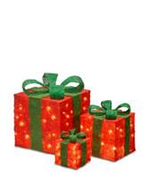 National Tree Company Pre-Lit Red Sisal Gift Box Assortment