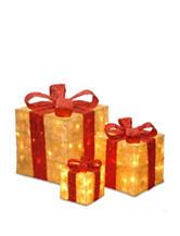 National Tree Company Pre-Lit Gold Sisal Gift Box Assortment