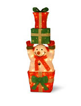 National Tree Company Pre-Lit 32 Inch Tinsel Snowman Holding Gift Boxes