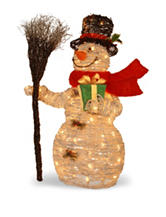 National Tree Company Pre-Lit 35 Inch White Rattan Snowman