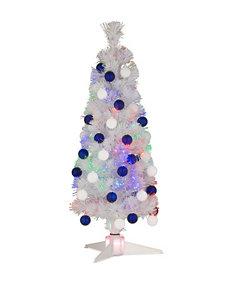 National Tree Company 36-Inch White Fiber Optic Fireworks Ornament Tree