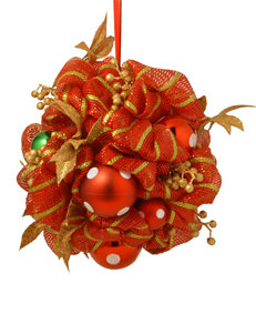 National Tree Company 16-Inch Decorative Collection Striped Red Ribbon Kissing Ball