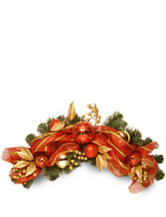 National Tree Company 24-Inch Decorative Collection Striped Red Ribbon Swag