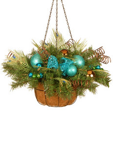 National Tree Company 22-Inch Decorative Collection Peacock Hanging Basket