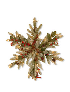 National Tree Company 32-Inch Decorative Collection Eucalyptus Snowflake – Clear Lights