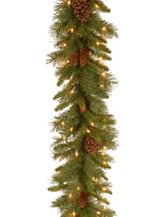 National Tree Company 9 ft. Pine Cone Garland with Clear Lights