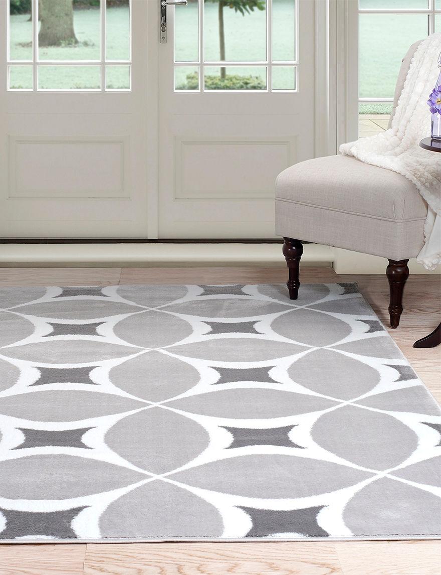 Lavish Home Grey / White Area Rugs Rugs