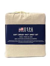 U.S. Polo Assn. Ivory Jersey Cotton Sheet Set