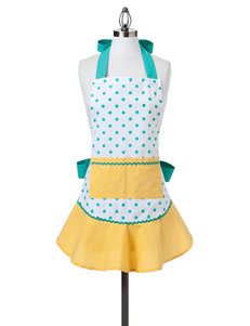 Design Imports Aqua & Yellow Dots Retro Apron