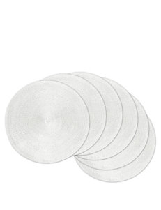 Design Imports 6-pk. Round Woven Solid Color White Placemats