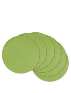 Design Imports 6-pk. Round Woven Solid Color Lime Green Placemats