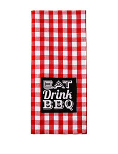 Design Imports Red / White Dish Towels Kitchen Linens