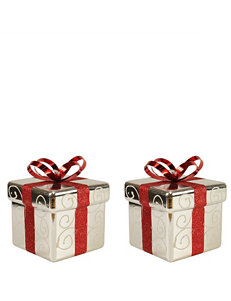 Christmas Central Silver & Red Gift Box Shatterproof Christmas Ornaments