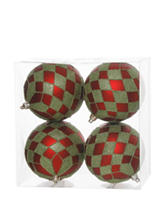 Christmas Central 4-pc. Red & Lime Green Glitter Diamond Christmas Ornaments
