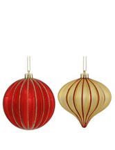 Christmas Central 9-pc. Red & Soft Gold Glitter Striped Shatterproof Christmas Ornaments