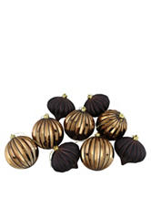 Christmas Central 9-pc. Black & Copper Glitter Striped Shatterproof Christmas Ornaments
