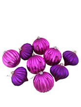Christmas Central 9-pc. Pink & Purple Striped Shatterproof Christmas Ornaments